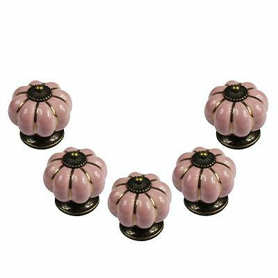5 Ceramic Pull Knobs Pumpkin Style Antique Vintage Dresser Cabinet Drawer Door Q