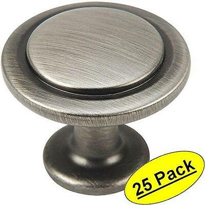 25  Antiqued Silver Finish Cabinet Drawer Door pull Hardware Heavy Metal Knobs