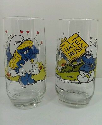 SMURF GLASS Lot of 2 Smurf Glasses 1982 APPEARS UNUSED