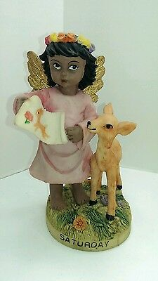 Angel of the Day Child with Deer Saturday Figurine Statue