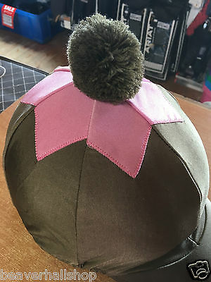 Shires Lycra Riding Hat Silk Cover with Pom Pom (852) One Size GREEN/PINK *SALE*