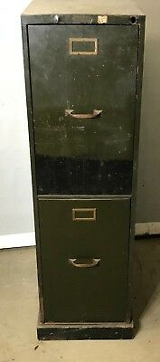 "vintage industrial file cabinet extra deep 22""  brass handles and name plates"