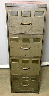 Vintage industrial File Cabinet 4 draw - 3 brass name plates each draw - retro
