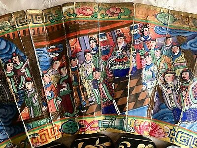 Antique 19thC Chinese Canton Export Thousand Faces Fan Exquisitely Painted Boxed