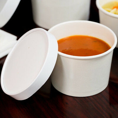 500 PACK 12 Oz Double Wall White Paper Soup Hot Food Cup Bowl Vented Lid Case