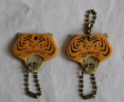 vintage Esso Tiger Key chains, two with advertising on back