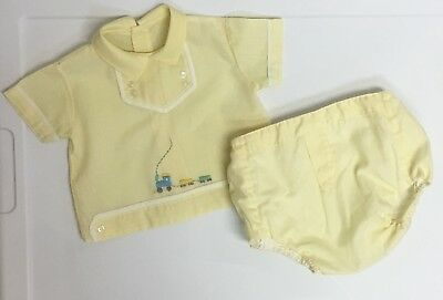Adorable! 60's Baby Boy's NB Newborn Train Outfit Not Smocked, But Similar Style