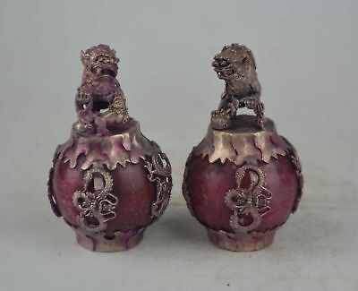 A pair Collection China Old jade&tiber silver, hand carving dragon statue ******