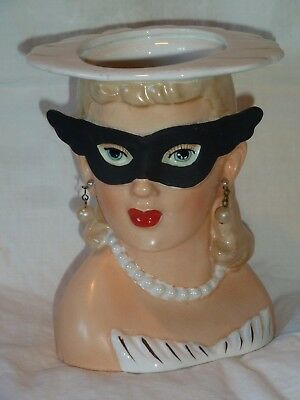 VINTAGE HEAD VASE Masked Lady with Earrings EXCELLENT