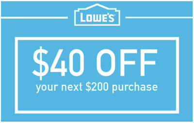 Lowes $40 off $200 LOWE'S Discount Code Online Only Fast Quick Delivery EXP 1/31