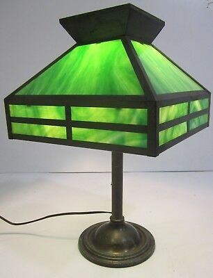 Vtg Antique Mission Arts & Crafts Green Slag Glass Table Lamp Brass Metal Base