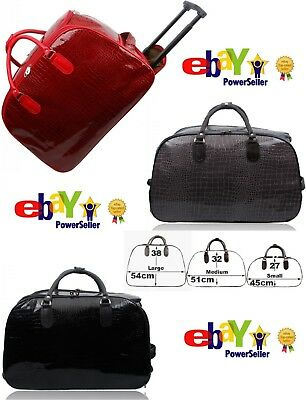 New Women Patent Cabin Mock Croc Trolley Holdall Travel Weekend Bag Leather  Size 6b28b35f641d5