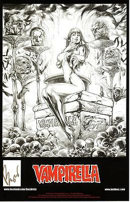 "SEXY VAMPIRELLA ART PRINT #1 SIGNED BY DC COMICS ARTIST BUZZ 11""x17"""