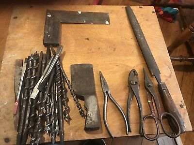 Lot Of Vintage Tools. Pliers And Brace Bits. True Temper. Disston. Pexto,