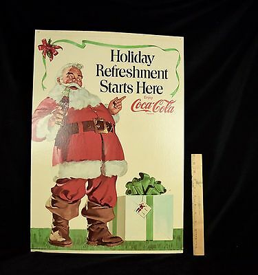 "vintage Coca-Cola stand up Santa display sign ""Holiday Refreshment Starts Here"""