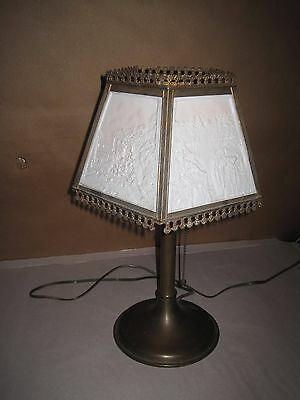 Antique Lamp  Lithophane Table Lamp Five Panel All Perfect