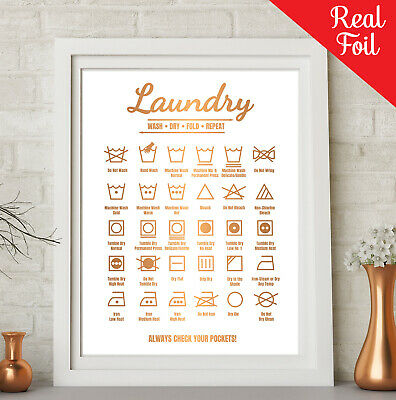 Laundry Guide Procedures REAL FOIL Word Art Print Typography Wash Fold Repeat