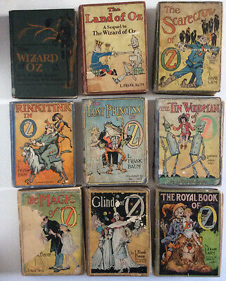 Wizard of Oz vintage L Frank Baum lot of 9 early books purchased 1922-1938 (L1)