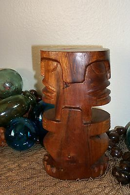 RARE Vintage Double Faced Carved Wood Tiki Marquesas Islands French Polynesia 9""