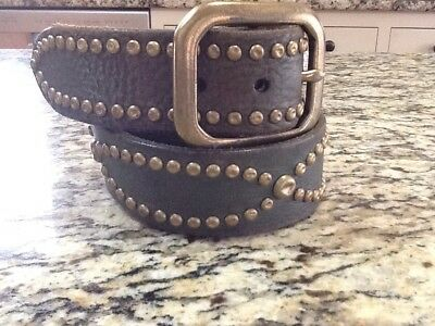 Lucky Brand Olive Green Leather Belt ~ Distressed ~ Studs ~ Brass Buckle ~ 34/M