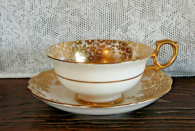 Hammersley & Co Gold Floral Gilt Elegant Vintage Tea Cup Teacup & Saucer Set