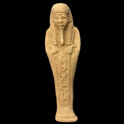 Rare Ancient Authentic Egyptian Ptolmaic Blue Faeince Ushabti Shabti 300-350 Bc