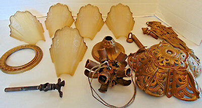 Vtg Amber Glass Slip Shade Art Deco 5 Light Cast Iron Fixture Ceiling Chandelier