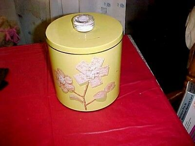 Vintage Yellow Blue Magic Krispy Kan Cracker/Chip Snack Tin DRI-KNOB cica 1949