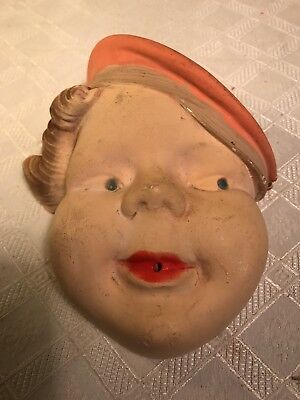 Vintage Chalk String Holder With Lady Or Girl Wearing Pink Hat