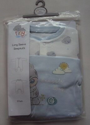 Me to You Tiny Tatty Teddy Ted Baby Boy 2 Pack Blue/White Sleepsuits 3 6 9 12