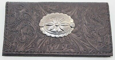 Sun Concho Slate Gray Western Floral Embossed Cowhide Leather Checkbook Cover