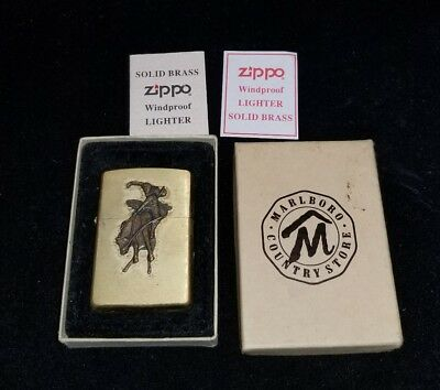Vintage 1996 Zippo Lighter Solid Brass Marlboro Bucking Bronco Rodeo Cowboy NICE