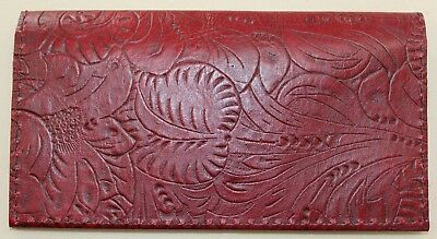 Oxblood Maroon Western Floral Embossed Cowhide Leather Checkbook Cover