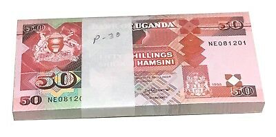 Uganda 50 Shillings 1989 P 30 Unc Bundle (100 Notes)