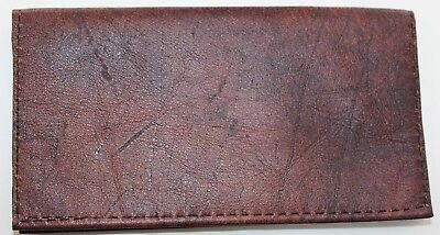 Rusty Brown Distressed Cowhide Leather Check Book  Cover Free Sh