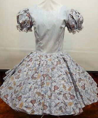 Faded Blue With Country Print Square Dance Dress