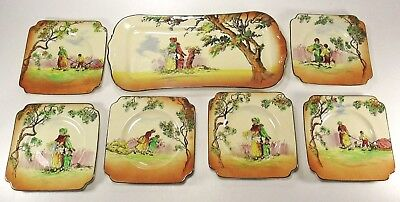 Early ROYAL DOULTON 7 Piece Gleaners or Gypsies Series Ware Sandwich Set ca.1930