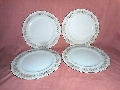 "Dansico Fine China Japan 'TEAHOUSE ROSE' 10 3/8"" Dinner Plates ~~ (4)"
