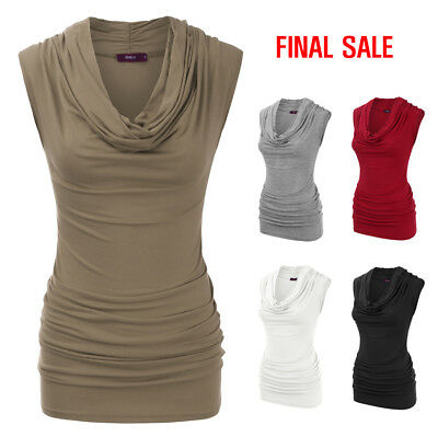 [FINAL SALE]Doublju Womens Cap Sleeve Ruched Cowl Neck Tunic Top