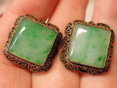 ✿Antique Jade Earrings ✿ Filigree Gilt Silver✿ Old Chinese Export Beautiful Ears