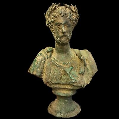 Very Rare Huge Ancient Roman Bronze Male Bust On Stand 200-400 Ad