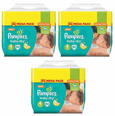 NEUF Lot 258 Couches Pampers baby-dry Taille 4 Maxi de 8 à 16kg Mega Pack