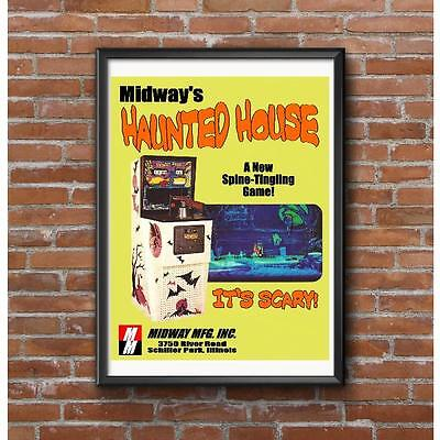 Midway Haunted House Arcade Game Poster - Its Scary Spine Tingling