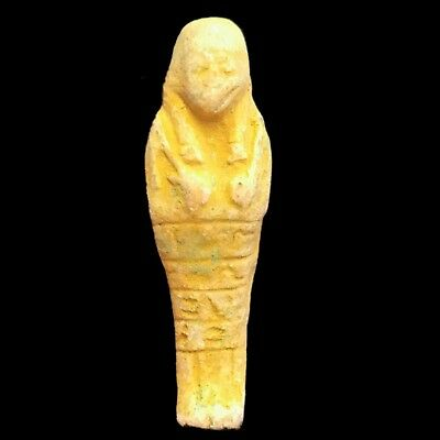 Rare Ancient Authentic Egyptian Ptolemaic Blue Faeince Ushabti Shabti 300-350 Bc
