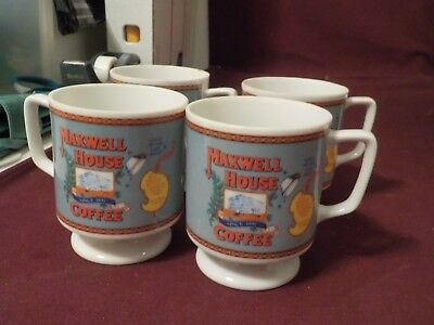 Vintage Set Of 5 Porcelain Maxwell House Coffee  Cups General Foods Corportion