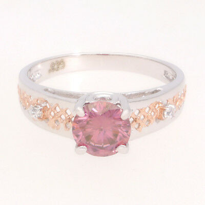 Rare 0.80 ct Pink Moissanite Engagement wedding Ring 925 Sterling Silver AU