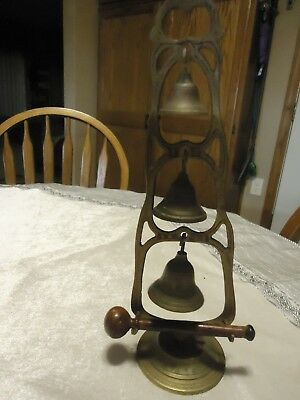 Vintage Decorative Etched Design 3 Tier Brass Bell Tower with Wooden Striker