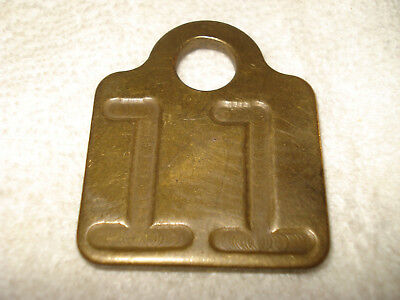 VINTAGE Brass COW Number TAG Dairy FARM Cattle #11 Double SIDED Chicken LEGS