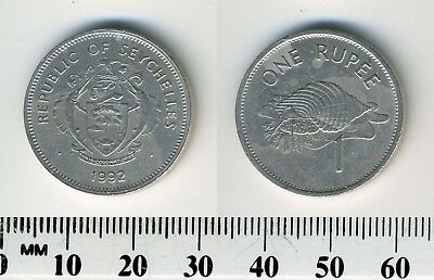 Seychelles 1992 - 1 Rupee Copper-Nickel Coin - Coat of arms - Triton Conch Shell