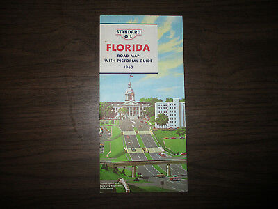 Standard Oil 1963 Florida Road Map with Pictorial Guide